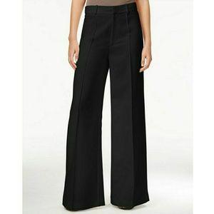Rachel Roy Black High Waist Wide Leg Pintuck Pants